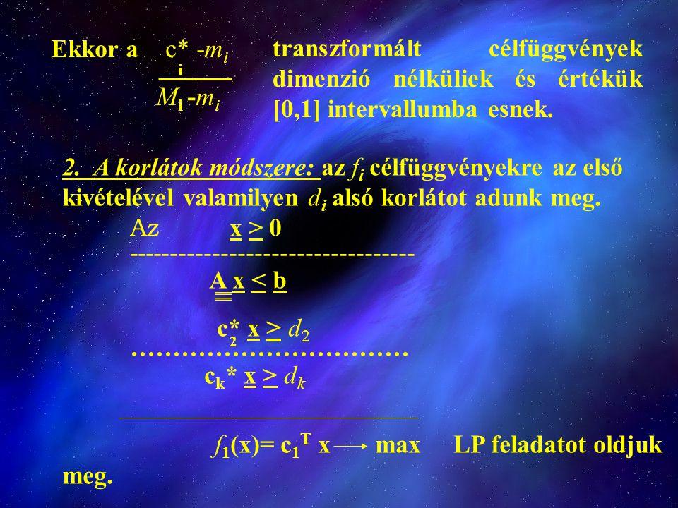 Ekkor a c* -mi i. Mi -mi. transzformált célfüggvények dimenzió nélküliek és értékük [0,1] intervallumba esnek.